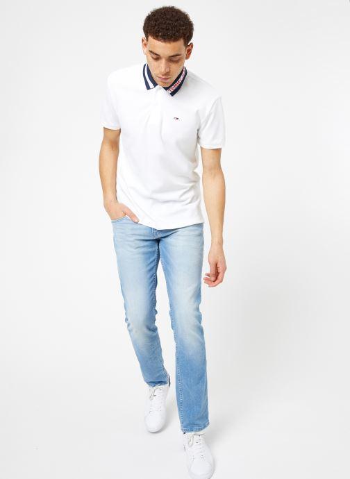 Vêtements Tommy Jeans TJM TIPPED COLLAR POLO Blanc vue bas / vue portée sac