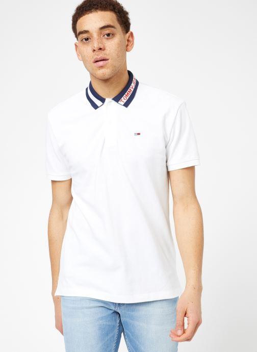 Vêtements Tommy Jeans TJM TIPPED COLLAR POLO Blanc vue droite