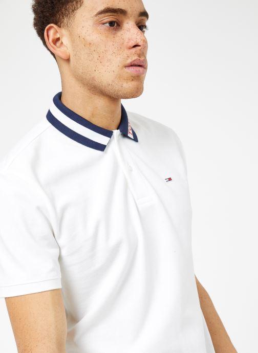 Vêtements Tommy Jeans TJM TIPPED COLLAR POLO Blanc vue détail/paire