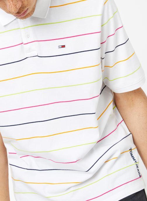 Vêtements Tommy Jeans TJM FINE STRIPE POLO Blanc vue face