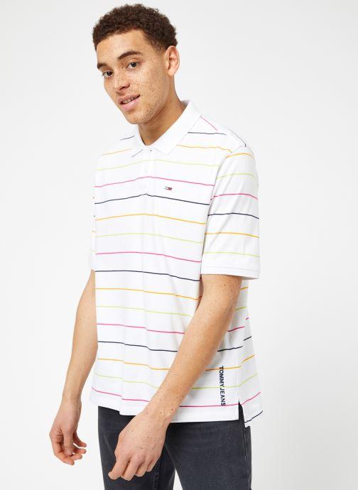 Vêtements Tommy Jeans TJM FINE STRIPE POLO Blanc vue droite