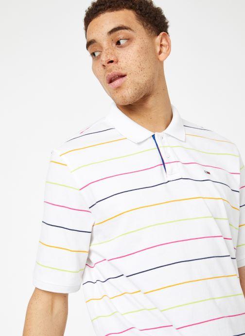 Vêtements Tommy Jeans TJM FINE STRIPE POLO Blanc vue détail/paire