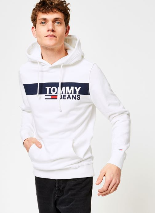 Kleding Tommy Jeans TJM ESSENTIAL GRAPHIC HOODIE Wit rechts
