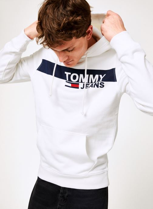 Kleding Tommy Jeans TJM ESSENTIAL GRAPHIC HOODIE Wit detail