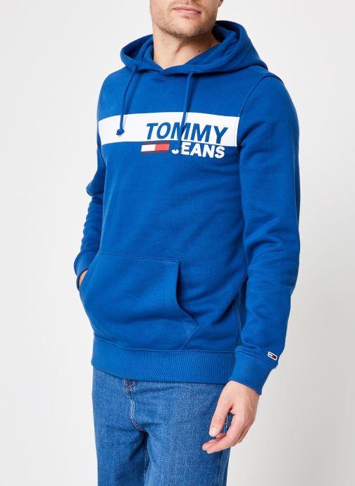 Vêtements Tommy Jeans TJM ESSENTIAL GRAPHIC HOODIE Bleu vue droite