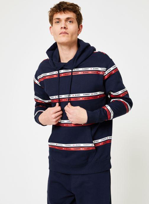 Vêtements Tommy Jeans TJM STRIPE HOODIE Bleu vue droite