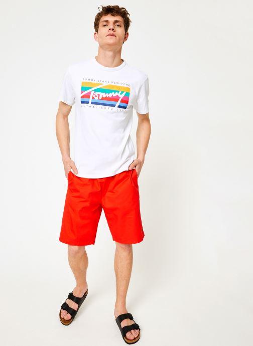 Vêtements Tommy Jeans TJM TOMMY RAINBOW BOX TEE Blanc vue bas / vue portée sac