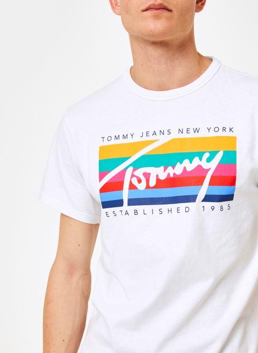 Vêtements Tommy Jeans TJM TOMMY RAINBOW BOX TEE Blanc vue face