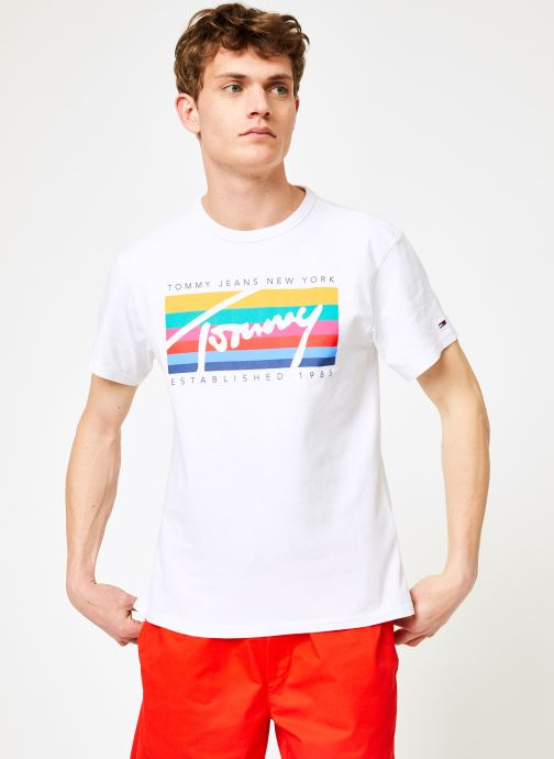 Vêtements Tommy Jeans TJM TOMMY RAINBOW BOX TEE Blanc vue droite