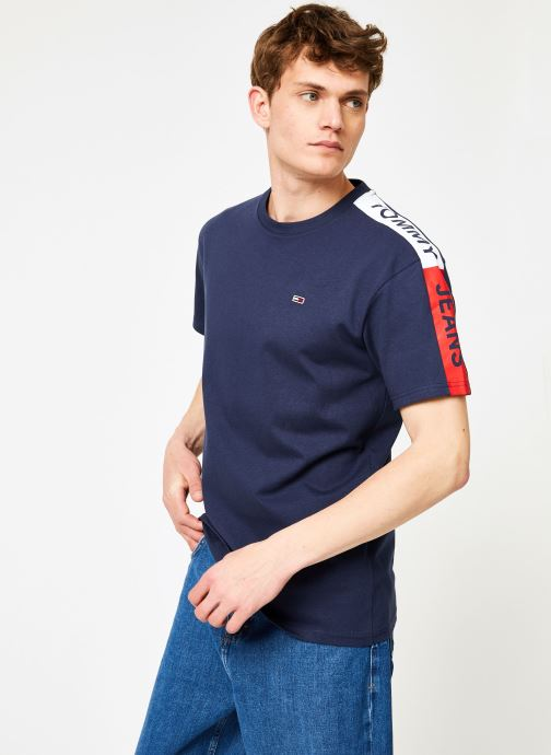 Kleding Tommy Jeans TJM SLEEVE GRAPHIC TEE Blauw rechts
