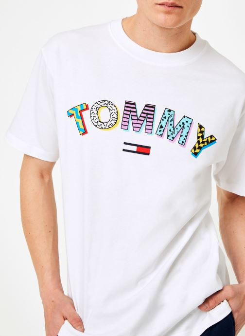 Kleding Tommy Jeans TJM RETRO GEO TEE Wit voorkant