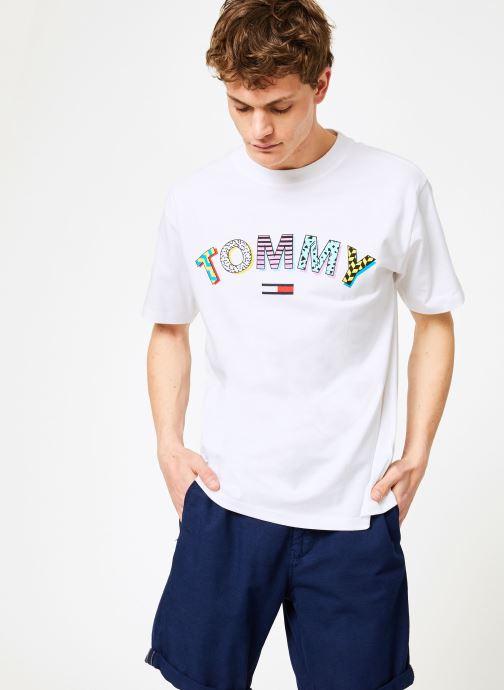Kleding Tommy Jeans TJM RETRO GEO TEE Wit rechts
