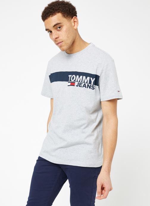 Vêtements Tommy Jeans TJM ESSENTIAL BOX LOGO TEE Gris vue droite