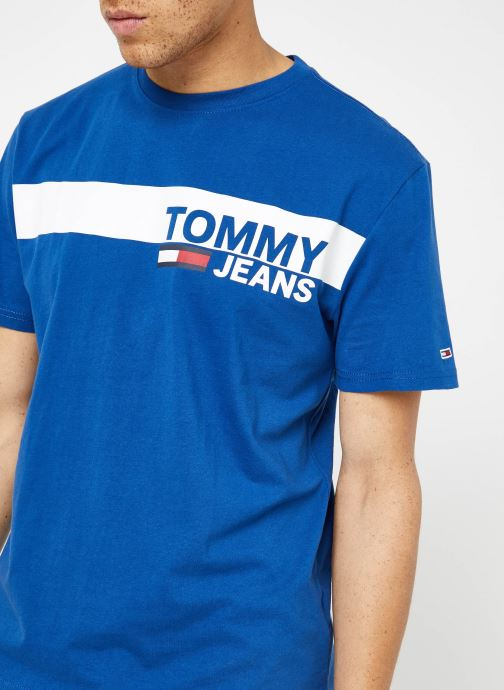 Kleding Tommy Jeans TJM ESSENTIAL BOX LOGO TEE Blauw voorkant