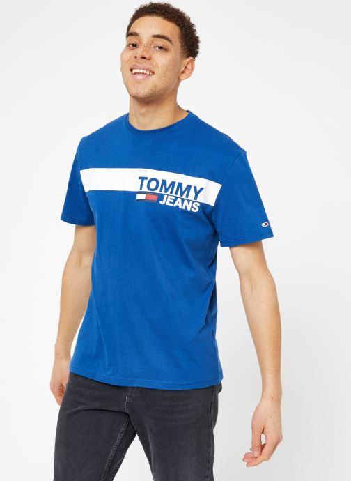 Kleding Tommy Jeans TJM ESSENTIAL BOX LOGO TEE Blauw rechts