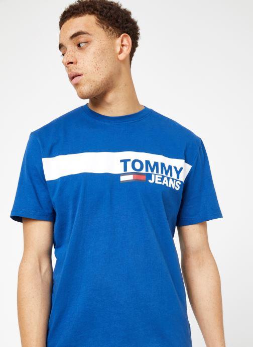 Kleding Tommy Jeans TJM ESSENTIAL BOX LOGO TEE Blauw detail
