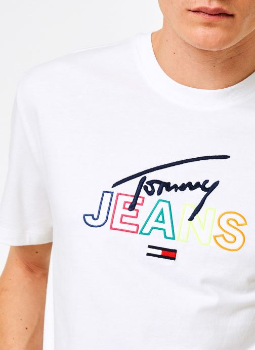Vêtements Tommy Jeans TJM TOMMY SCRIPT TEE Blanc vue face