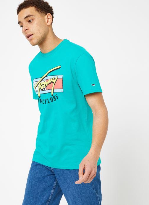 Vêtements Tommy Jeans TJM NEON SCRIPT TEE Vert vue droite