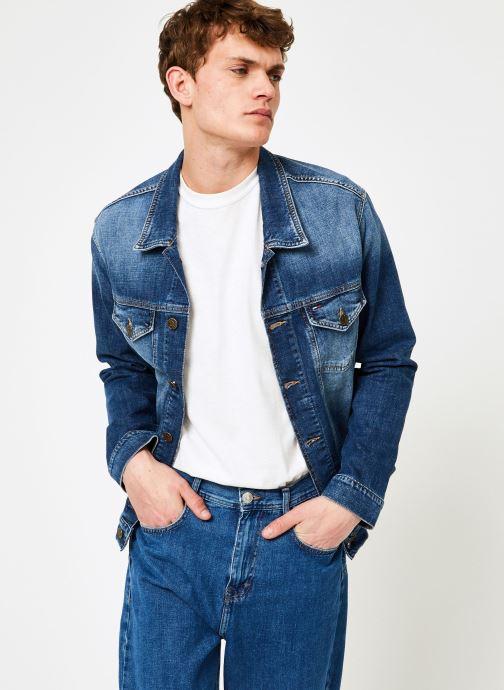 Vêtements Tommy Jeans REGULAR TRUCKER JACKET ELKDK Bleu vue droite