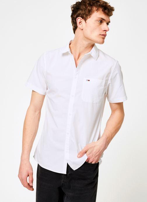 Vêtements Tommy Jeans TJM S/S SOLID POPLIN SHIRT Blanc vue droite