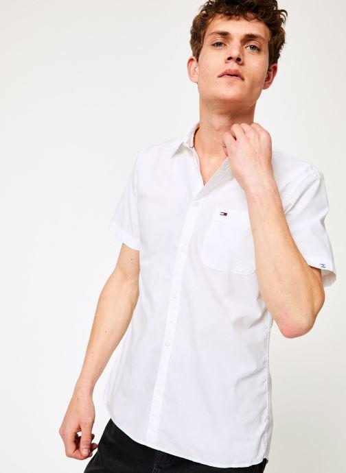 Vêtements Tommy Jeans TJM S/S SOLID POPLIN SHIRT Blanc vue détail/paire