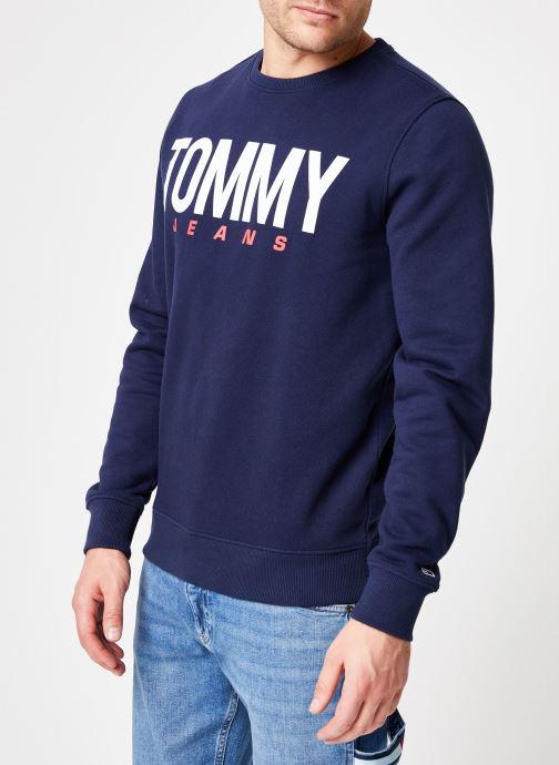 Vêtements Tommy Jeans TJM ESSENTIAL LOGO CREW Bleu vue droite