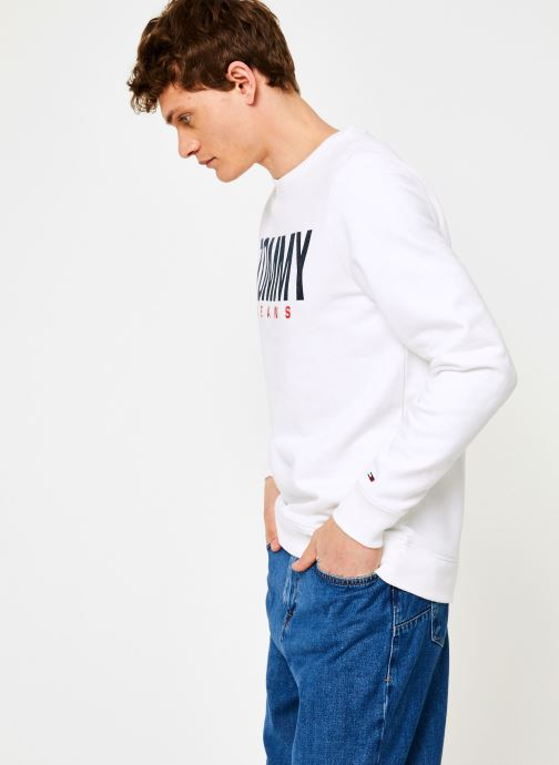 Vêtements Tommy Jeans TJM ESSENTIAL LOGO CREW Blanc vue droite