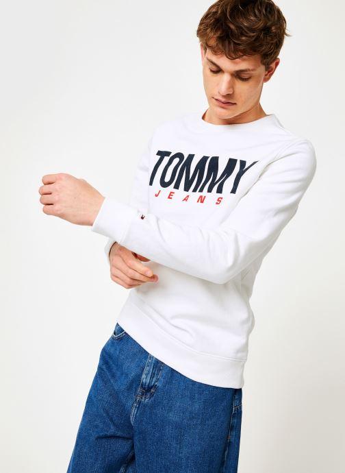 Vêtements Tommy Jeans TJM ESSENTIAL LOGO CREW Blanc vue détail/paire