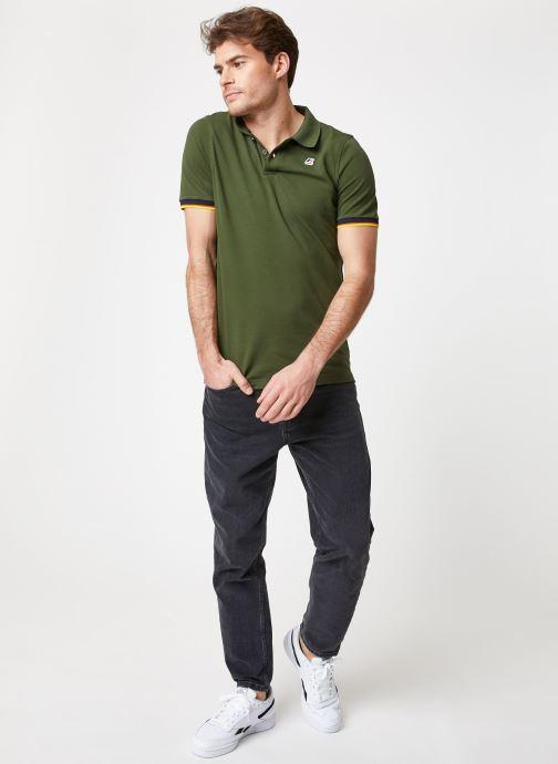 Vêtements K-Way  VINCENT CONTRAST POLO Vert vue bas / vue portée sac