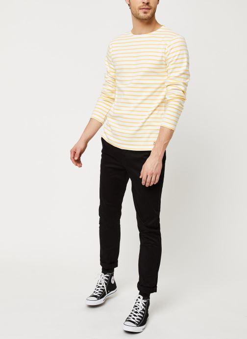 Armor Lux T-shirt manches longues - Marinière Houat Héritage (Blanc) - Vêtements (417185)
