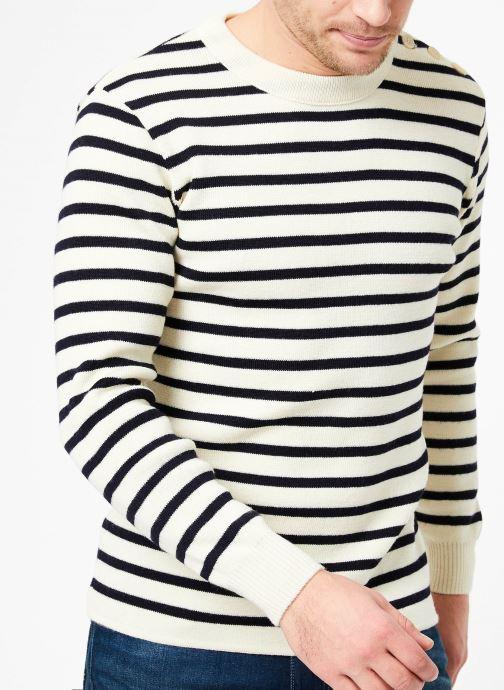 Vêtements Armor Lux Pull marin rayé Fouesnant Blanc vue détail/paire