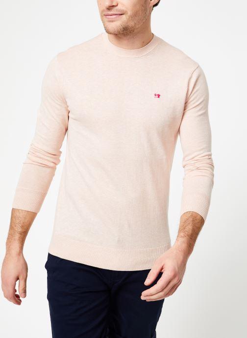 Vêtements Scotch & Soda Classic crewneck pull in cotton melange quality Rose vue droite