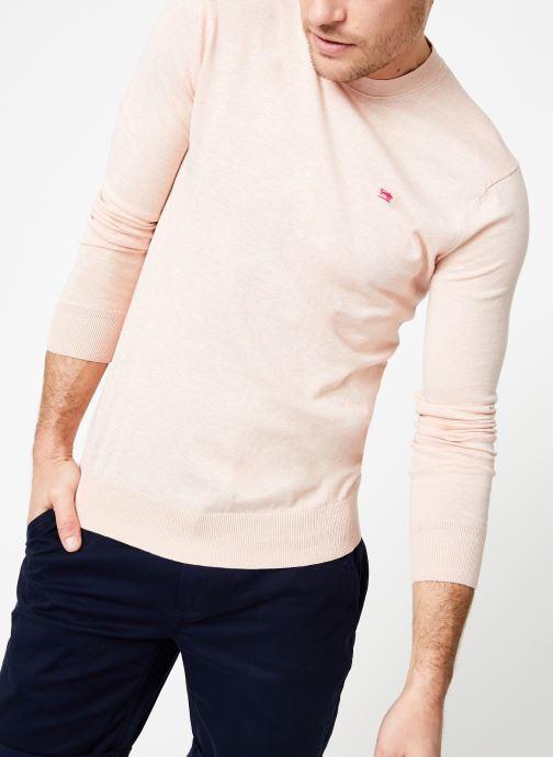 Vêtements Scotch & Soda Classic crewneck pull in cotton melange quality Rose vue détail/paire