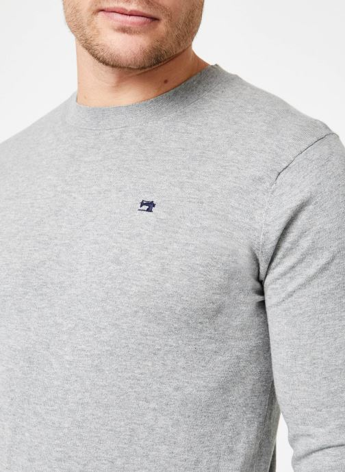 Kleding Scotch & Soda Classic crewneck pull in cotton melange quality Grijs voorkant