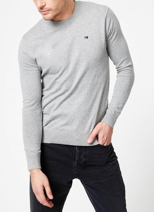 Vêtements Scotch & Soda Classic crewneck pull in cotton melange quality Gris vue droite