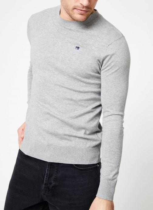 Vêtements Scotch & Soda Classic crewneck pull in cotton melange quality Gris vue détail/paire