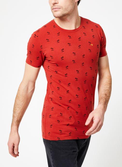 Vêtements Scotch & Soda Classic cotton/elastane crewneck tee Rouge vue droite
