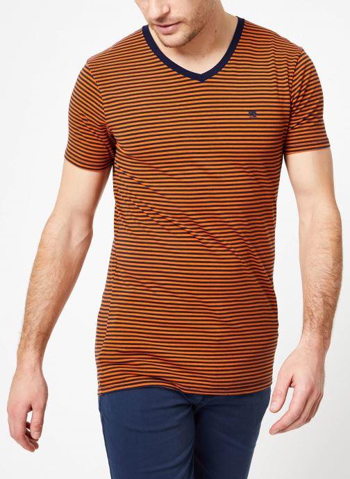 Vêtements Scotch & Soda Classic cotton/elastane v-neck tee Marron vue droite