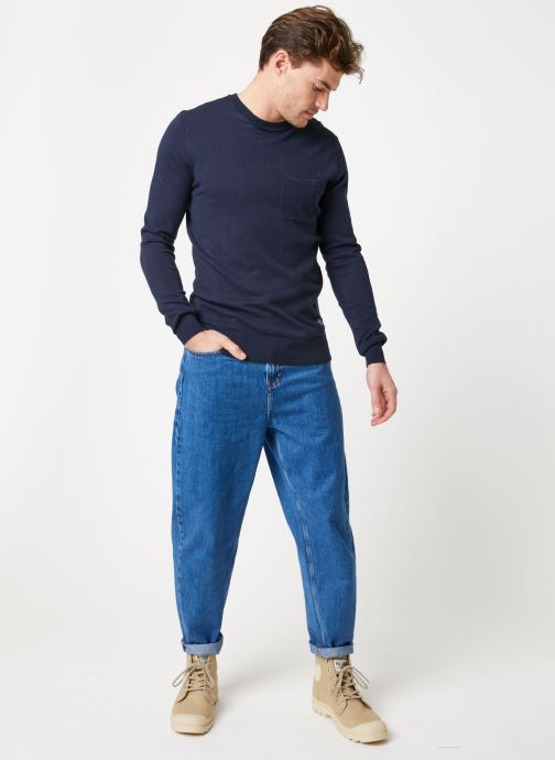 Vêtements Scotch & Soda Classic crewneck pull in soft cotton quality Bleu vue bas / vue portée sac