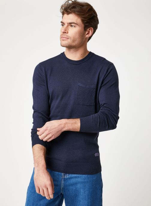 Vêtements Scotch & Soda Classic crewneck pull in soft cotton quality Bleu vue droite