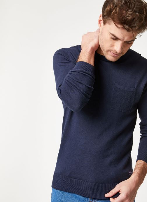 Vêtements Scotch & Soda Classic crewneck pull in soft cotton quality Bleu vue détail/paire