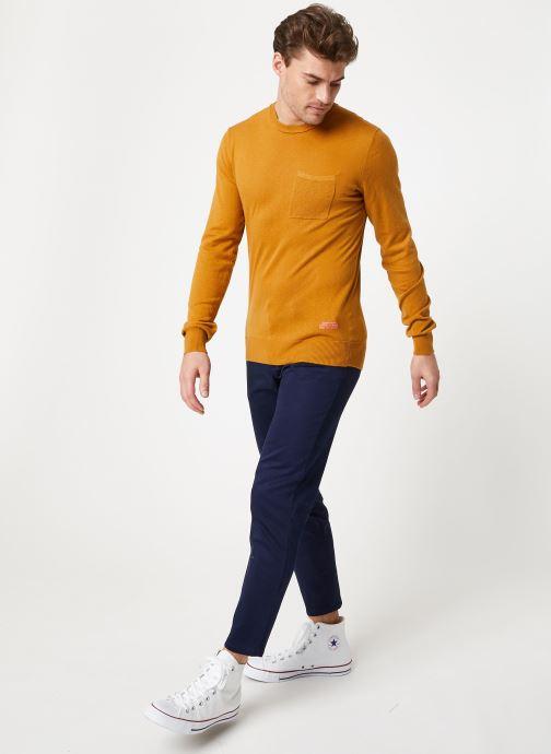 Vêtements Scotch & Soda Classic crewneck pull in soft cotton quality Marron vue bas / vue portée sac