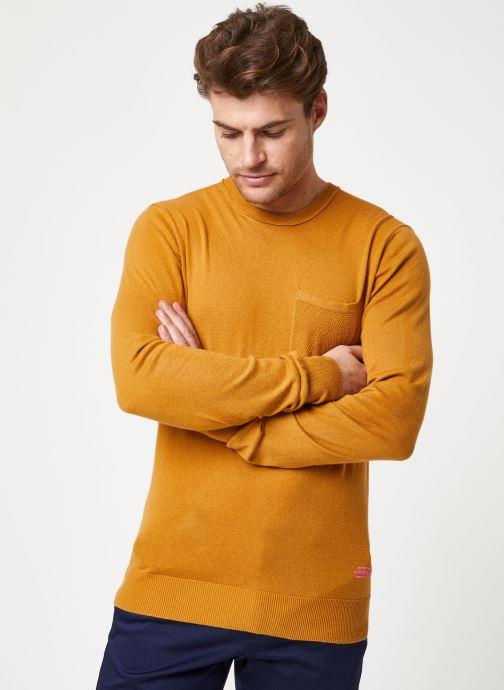 Vêtements Scotch & Soda Classic crewneck pull in soft cotton quality Marron vue droite