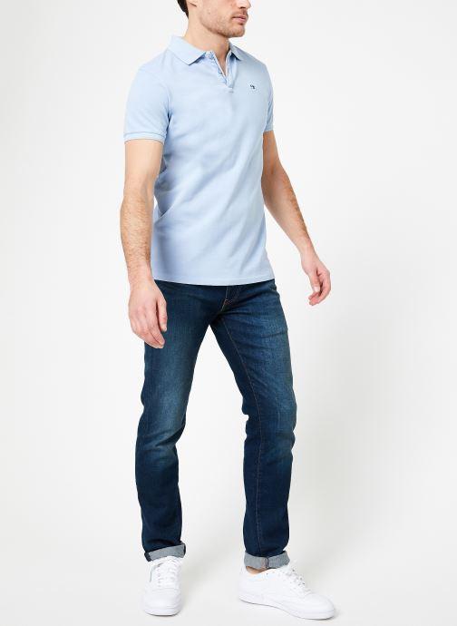 Vêtements Scotch & Soda Classic garment-dyed pique polo Bleu vue bas / vue portée sac