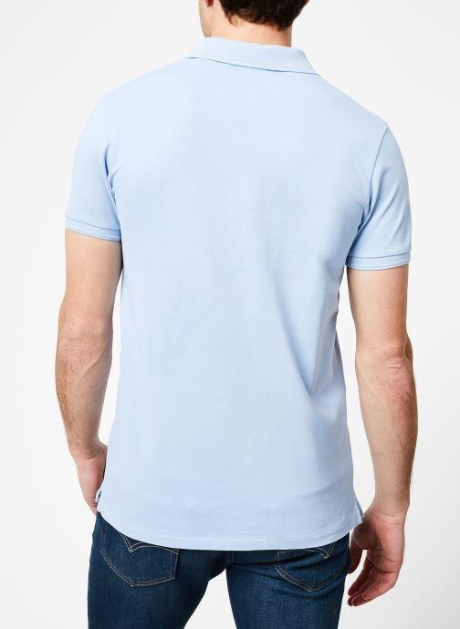 Vêtements Scotch & Soda Classic garment-dyed pique polo Bleu vue portées chaussures