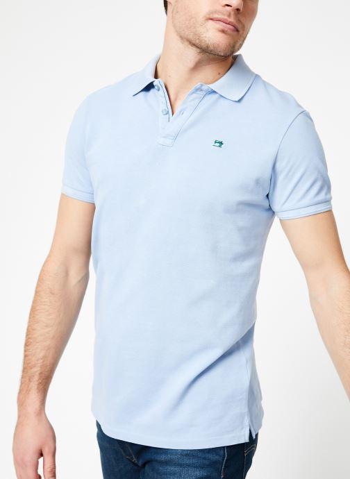 Vêtements Scotch & Soda Classic garment-dyed pique polo Bleu vue détail/paire