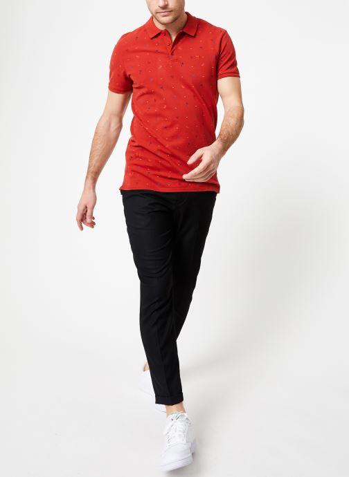 Vêtements Scotch & Soda Classic garment-dyed pique polo with all-over print Rouge vue bas / vue portée sac