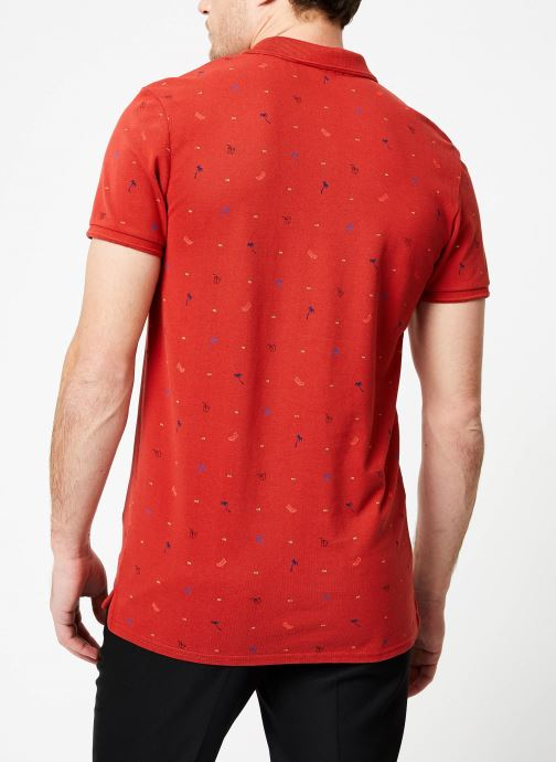 Vêtements Scotch & Soda Classic garment-dyed pique polo with all-over print Rouge vue portées chaussures