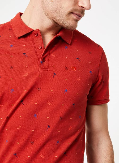 Vêtements Scotch & Soda Classic garment-dyed pique polo with all-over print Rouge vue face