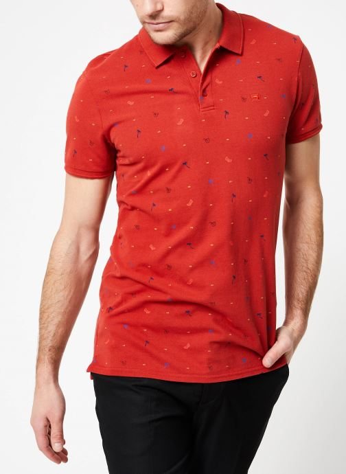 Vêtements Scotch & Soda Classic garment-dyed pique polo with all-over print Rouge vue droite